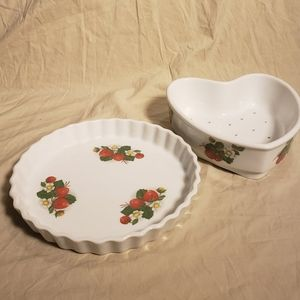 Vintage French Porcelain Strawberry Tartlet Set